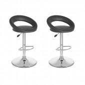 Round Open Back Adjustable Bar Stool in Black Leatherette-Set of 2