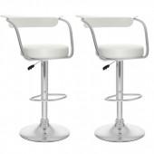 Open Back Adjustable Bar Stool in White Leatherette-Set of 2
