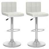 High Back Adjustable Bar Stool in White Leatherette-Set of 2