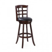 Woodgrove 43 Inch Dark Cappuccino Wood Barstool With Black Leatherette Seat