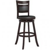 """Woodgrove Cushion Back 43"""" Wooden Barstool in Espresso and Black Leatherette"""