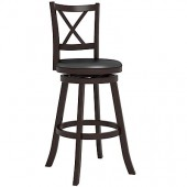 """Woodgrove Cross Back 43"""" Wooden Barstool in Espresso and Black Leatherette"""
