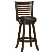 Cappuccino Stained Counter Height Bar Stool with Leather Seat