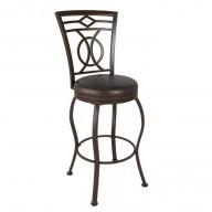 Metal Bar Height Bar Stool with Swivel Dark Brown Leather Seat